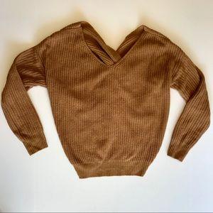 Sweaters - Twist Back Camel Sweater - XS/Small